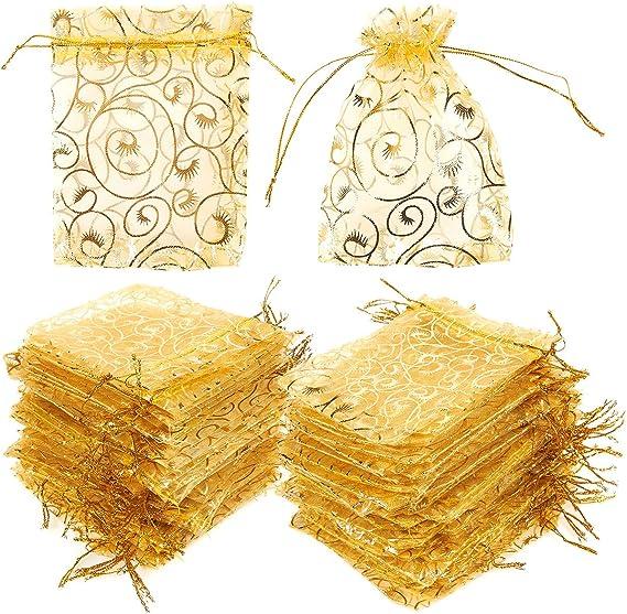 Amazon.com: Paquete de 120 bolsas de regalo de organza ...