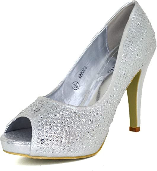 Off White Diamante Sparkly Straps Wedding Sandals Open-Toe Heels