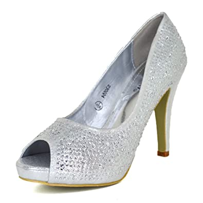 e67272069129 Ladies Diamante High Heel Stiletto Shoes Peep Toe Party Glitter Wedding Size  3-8[