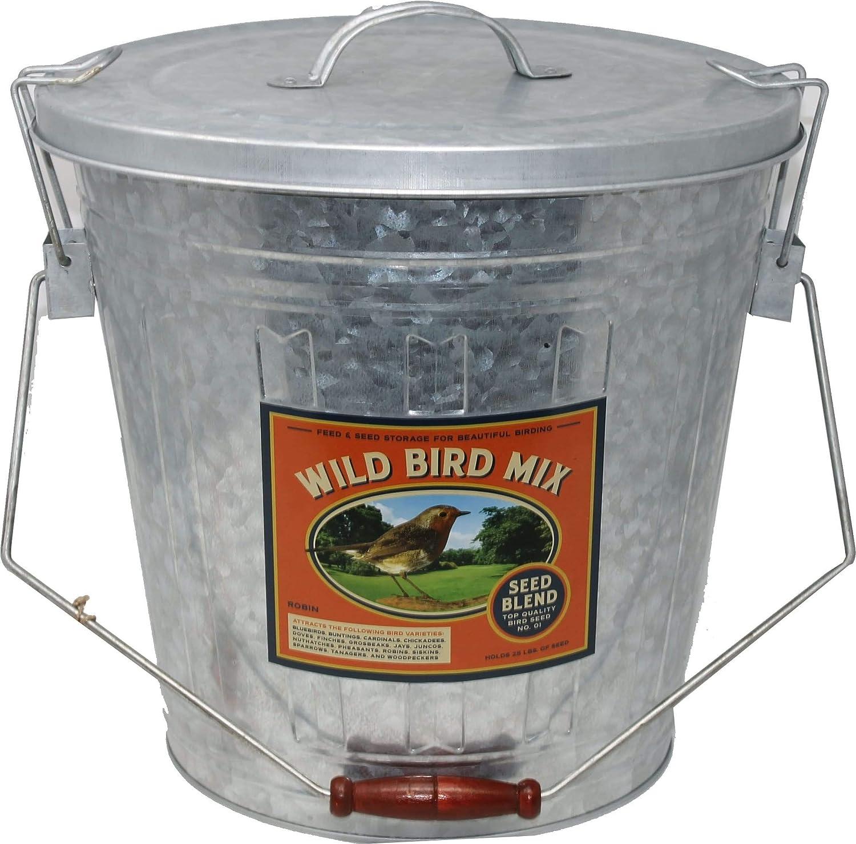 AUDUBON/WOODLINK Rustic Farmhouse Seed Storage Bucket W/scoop Galvanized 25 LB