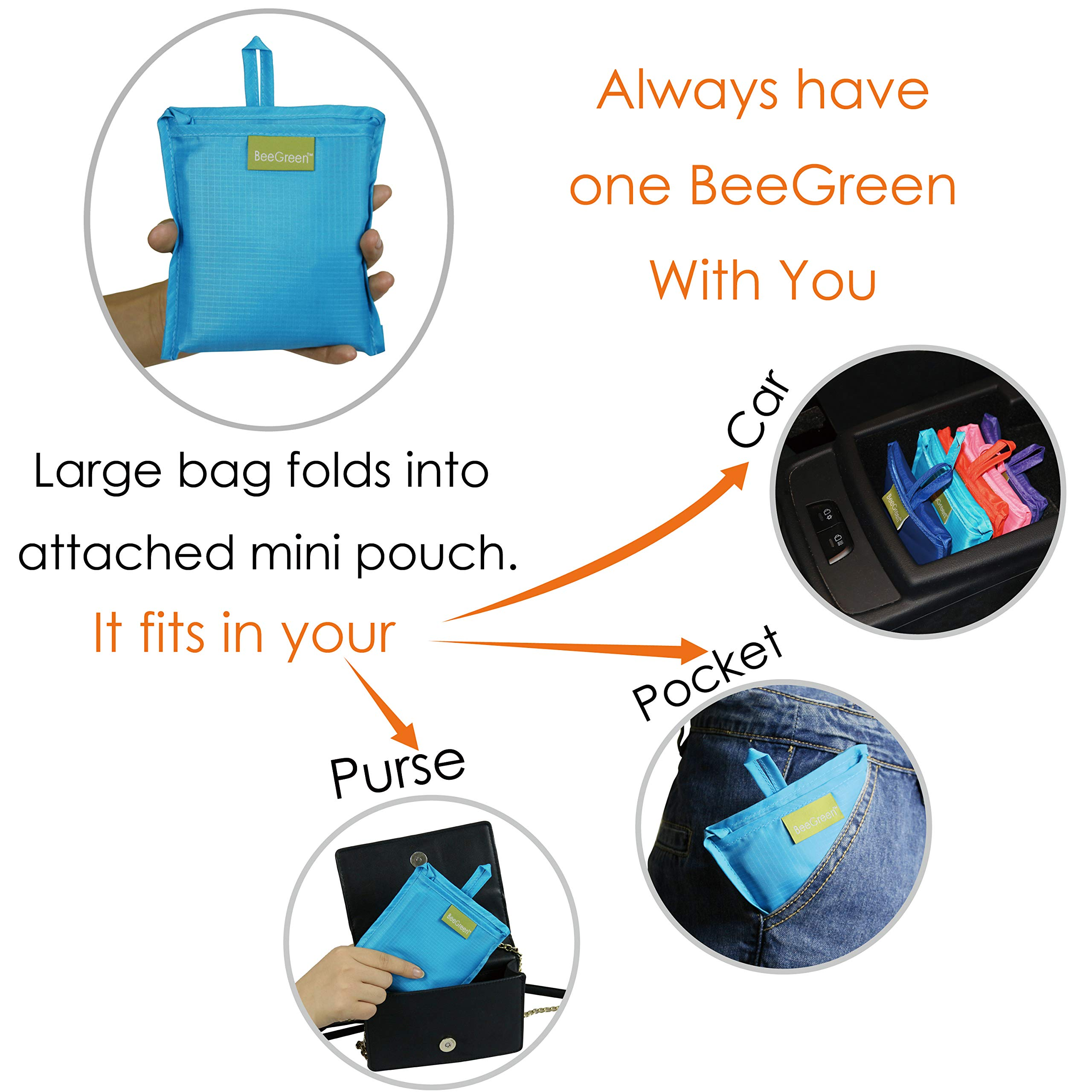 Reusable Grocery Bags Set of 5, Grocery Tote Foldable into Attached Pouch, Ripstop Polyester Reusable Shopping Bags, Washable, Durable and Lightweight (Royal,Purple,Pink,Orange,Teal) by BeeGreen (Image #4)