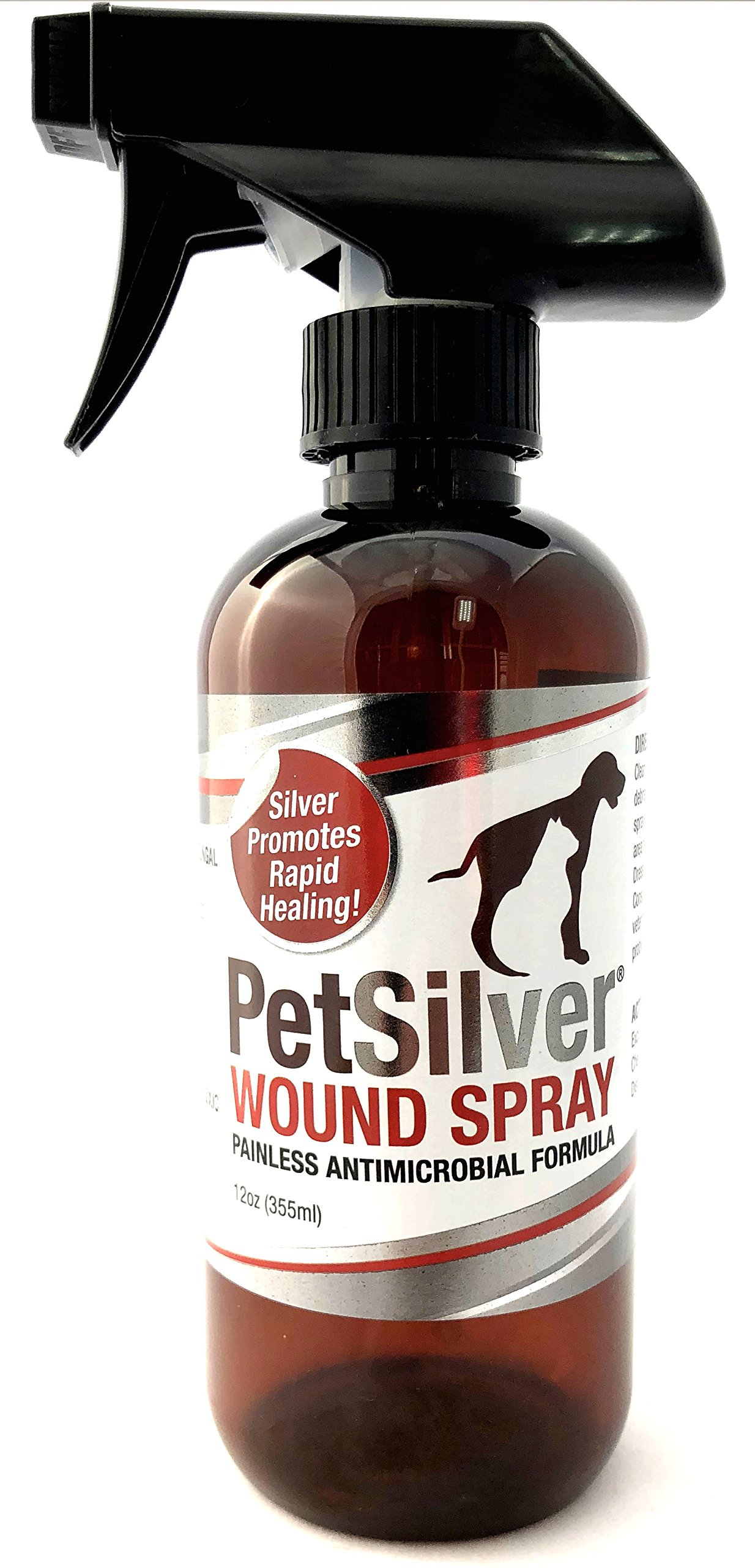 PetSilver Wound Spray with Chelated Silver 50 ppm.Antimicrobial Wound Care for Cats,Dogs & Horses.Rapid Healing,Hot Spots,Burns,Cuts,Scratches,Itchy Skin,Yeast and Bacteria Infections.Amazing Results!