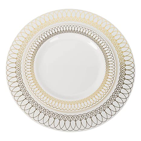 60-Pack of Luxury Disposable Plastic Plates for Upscale Parties- 30x10.25u0026quot;  sc 1 st  Amazon.com : luxury disposable plates - pezcame.com