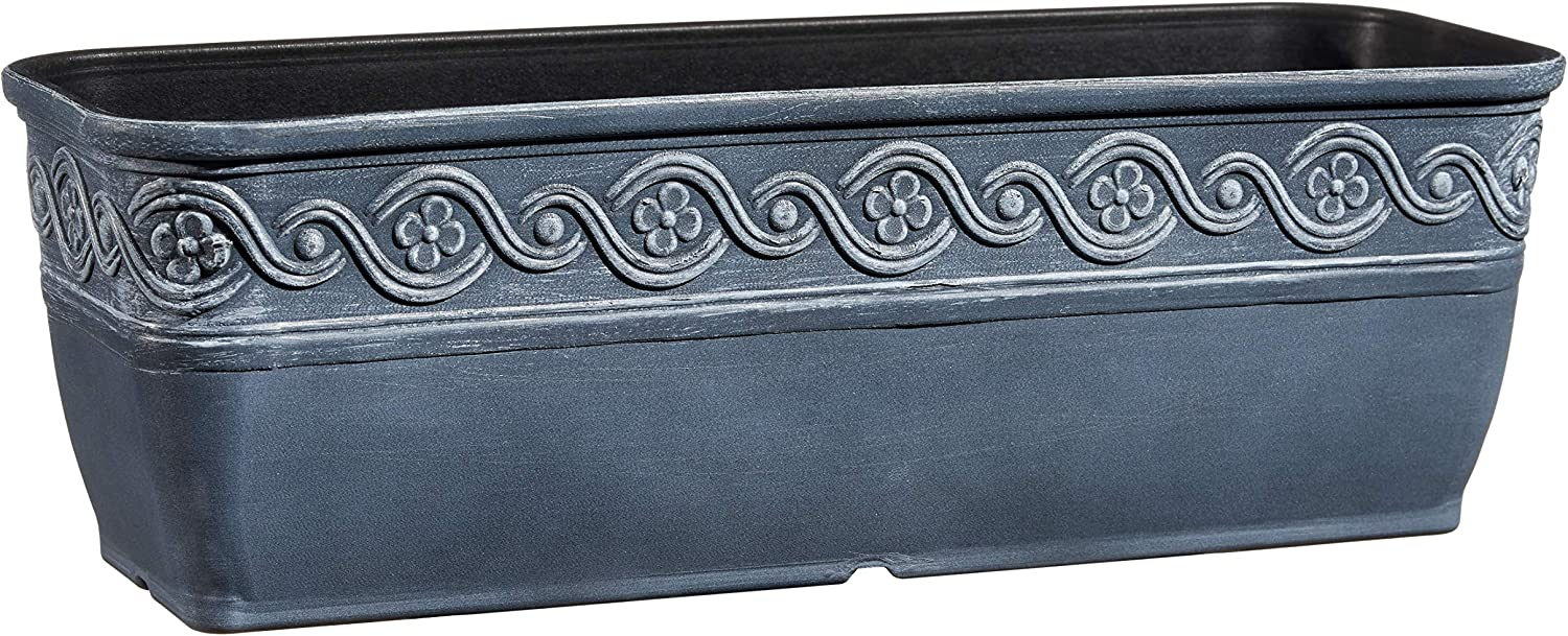 "Classic Home and Garden 9410-515 Corinthian Trough Planter, 10"", Storm"