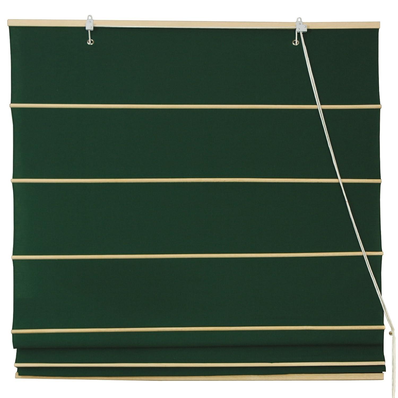 Oriental Furniture Cotton Roman Shades - Dark Green - (24 in. x 72 in.) WT-YJ1-8F-24W
