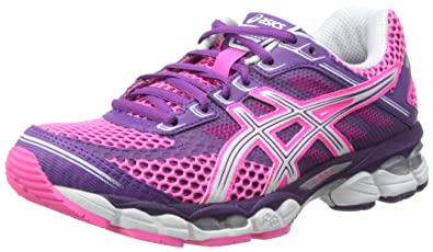 new products 031c1 fb456 ASICS Womens Gel-Cumulus 15 W Neon Pink White Purple Running Shoes T3C5N