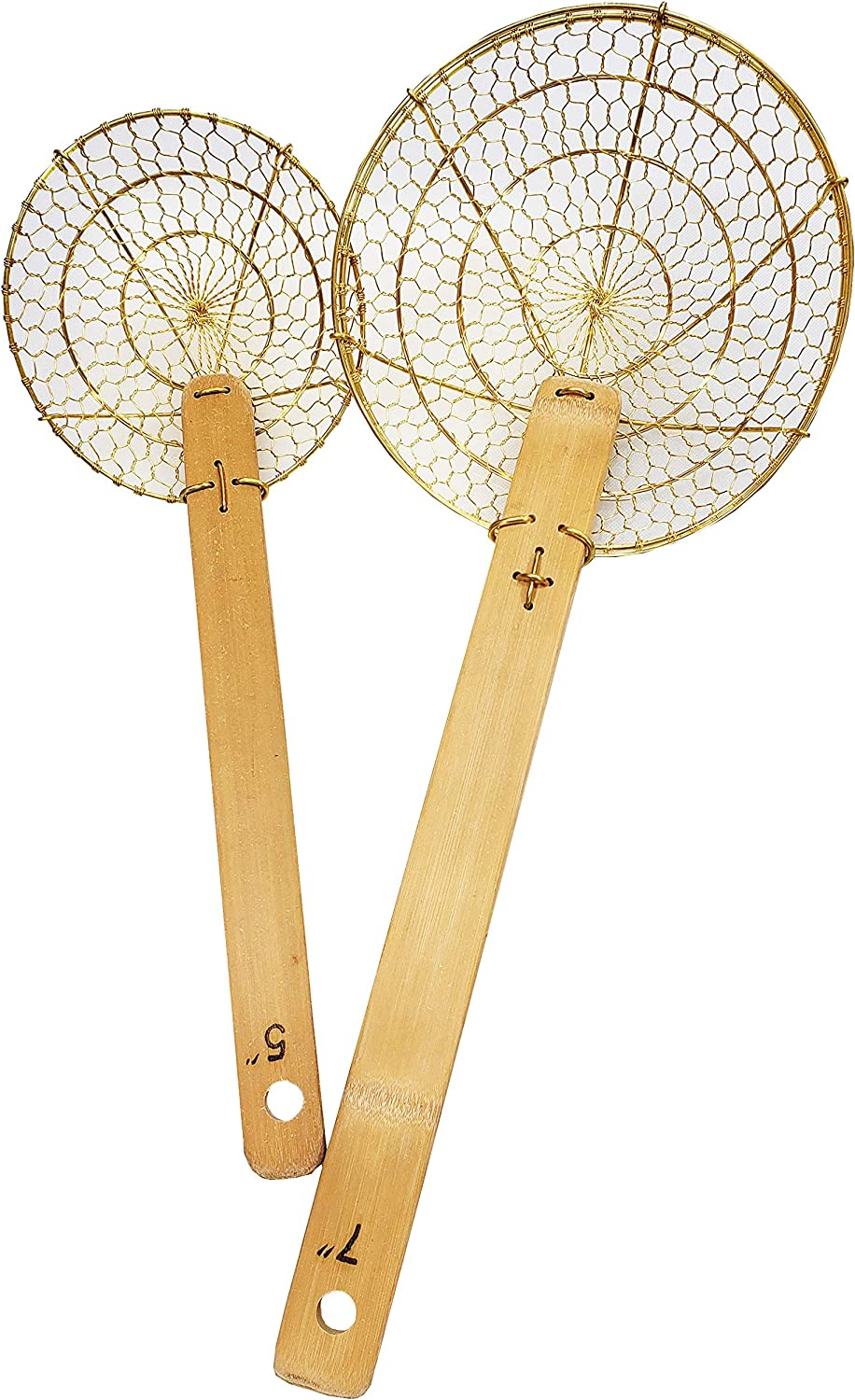 "5"" & 7"" Set Round Brass Spider Strainer Sets with Bamboo Handles"
