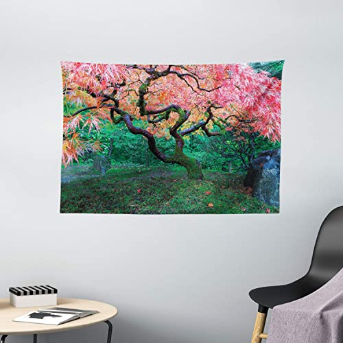 Ambesonne Nature Tapestry Japanese Decor, Aged Red Leaf Maple Tree with Moss in Asian Garden Scenery in The Fall, Wall Hanging for Bedroom Living Room Dorm, 60L X 40W Inches, Green and Vermilion