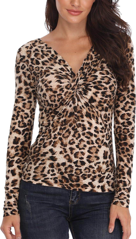 MISS MOLY Camisetas Mujer Cuello V Profundo Camisetas Blusa Top con Estampado de Leopardo