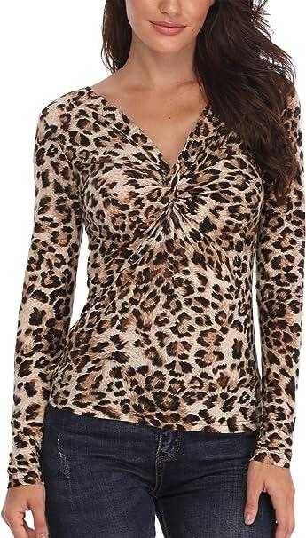 TALLA 38. MISS MOLY Camisetas Mujer Cuello V Profundo Camisetas Blusa Top con Estampado de Leopardo