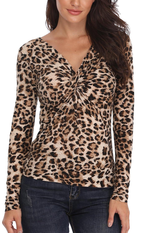 MISS MOLY Mujeres Tops Moda Cuello V Profundo Camisetas Blusa T-Shirt Chic tee Slim Jumpers Camisas