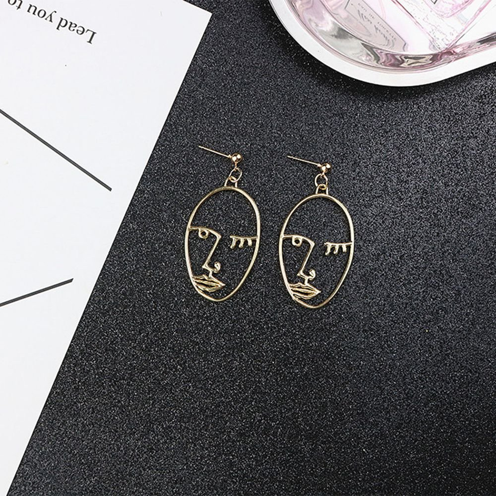 Face Earring Set-ikooo 3 Pair Gold Tone Hypoallergenic Earrings for Girls Teens Women Earrings Including Hollow Face Hand Shape Gold Statement Earrings by Ikooo (Image #6)