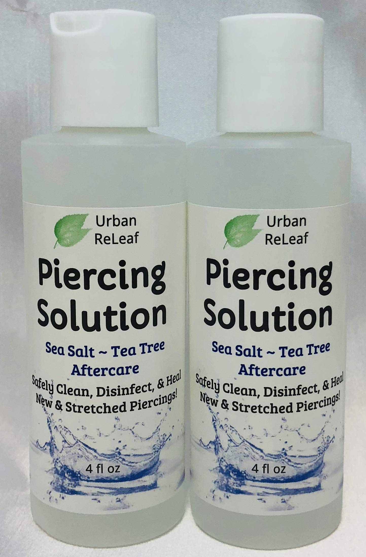 Urban ReLeaf Piercing Solution 8 oz! Healing Sea Salts & Botanical AFTERCARE. Safely Clean, Heal New & Stretched Piercings. Gentle ~ Effective ~ 100% Natural. Non-iodized. Vitamin Rich Botanicals! by Urban ReLeaf