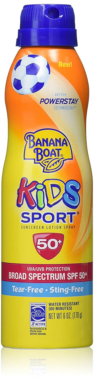 Banana Boat Kids Sport Tear-Free, Sting-Free Broad Spectrum Sunscreen Lotion Spray, SPF 50+ - 6 Ounce X300738400