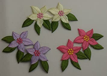 Hawaii flower pair set of 3 iron on sew on embroidered patch badge