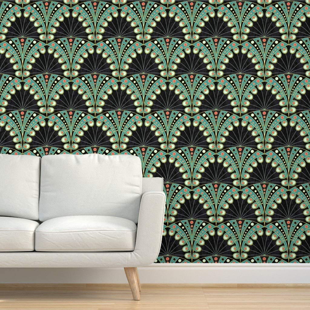 Spoonflower Peel And Stick Removable Wallpaper Peacock Feather Art Deco Art Nouveau Geometric Boho Bohemian Bird Green Black Elegance Print Self Adhesive Wallpaper 12in X 24in Test Swatch Amazon Com