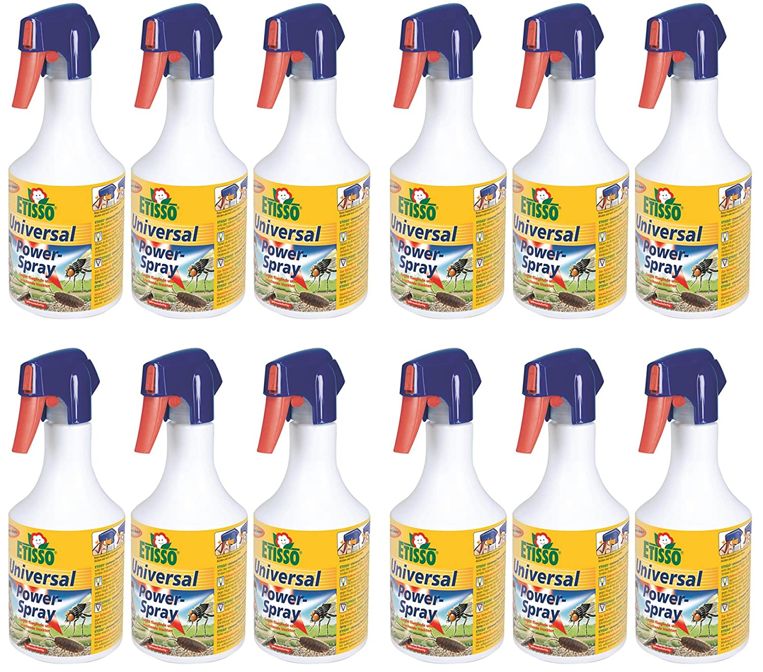 12 x 500 ml ETISSO Universal Power-Spray Insektenspray gegen Fliegen Mücken Wespen etc.