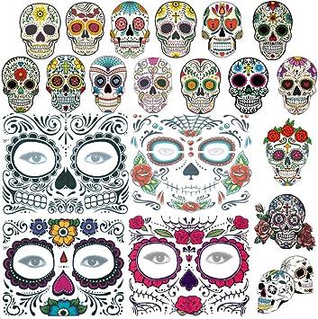 4 piezas de tatuajes de cara de Halloween, 16 piezas de calavera ...