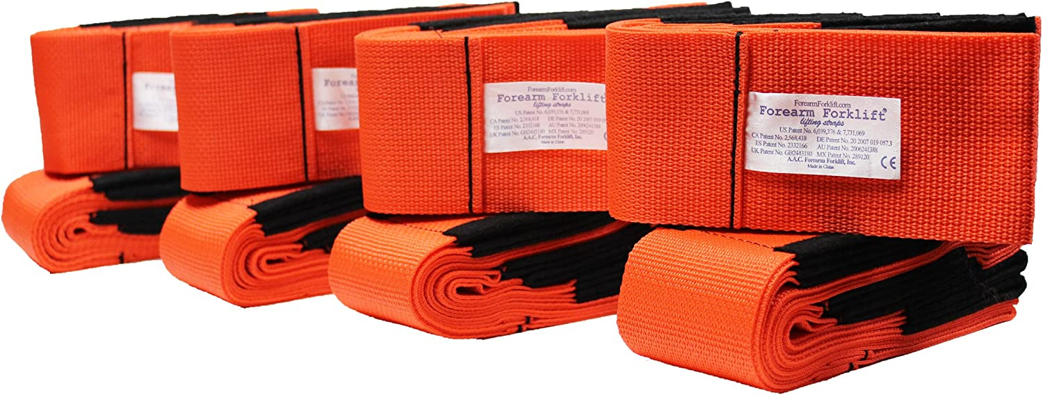 Forearm Forklift Lifting and Moving Straps for Furniture, Appliances, Mattresses or Heavy Objects up to 800 Pounds 2-Person, Pack of 4, Orange, Model L74995CN4