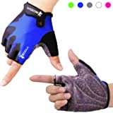 Cycling Gloves Fingerless Gloves Gym Gloves with Anti-slip 3-Piece Silica Gel Grip & Adjustable Strap Weight Lifting Gloves for Fitness, Cross Training (Men & Women)