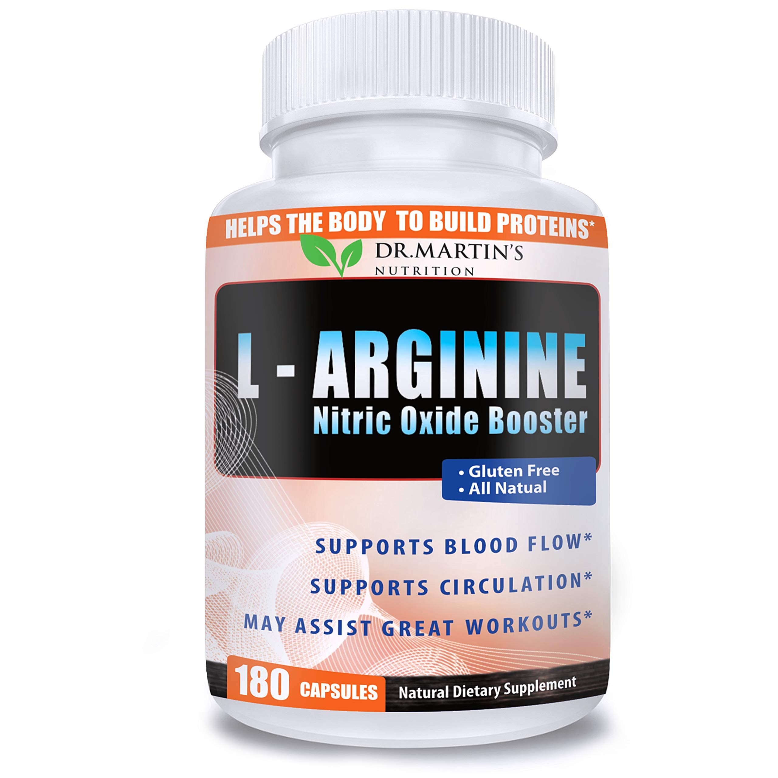 Extra Strength L Arginine 1340mg Nitric Oxide Supplements - 180 Capsules | for Muscle Growth, Increase Energy & Endurance & Boost Heart Health | Best Amazon Value 3 Months Supply by DR. MARTIN'S NUTRITION