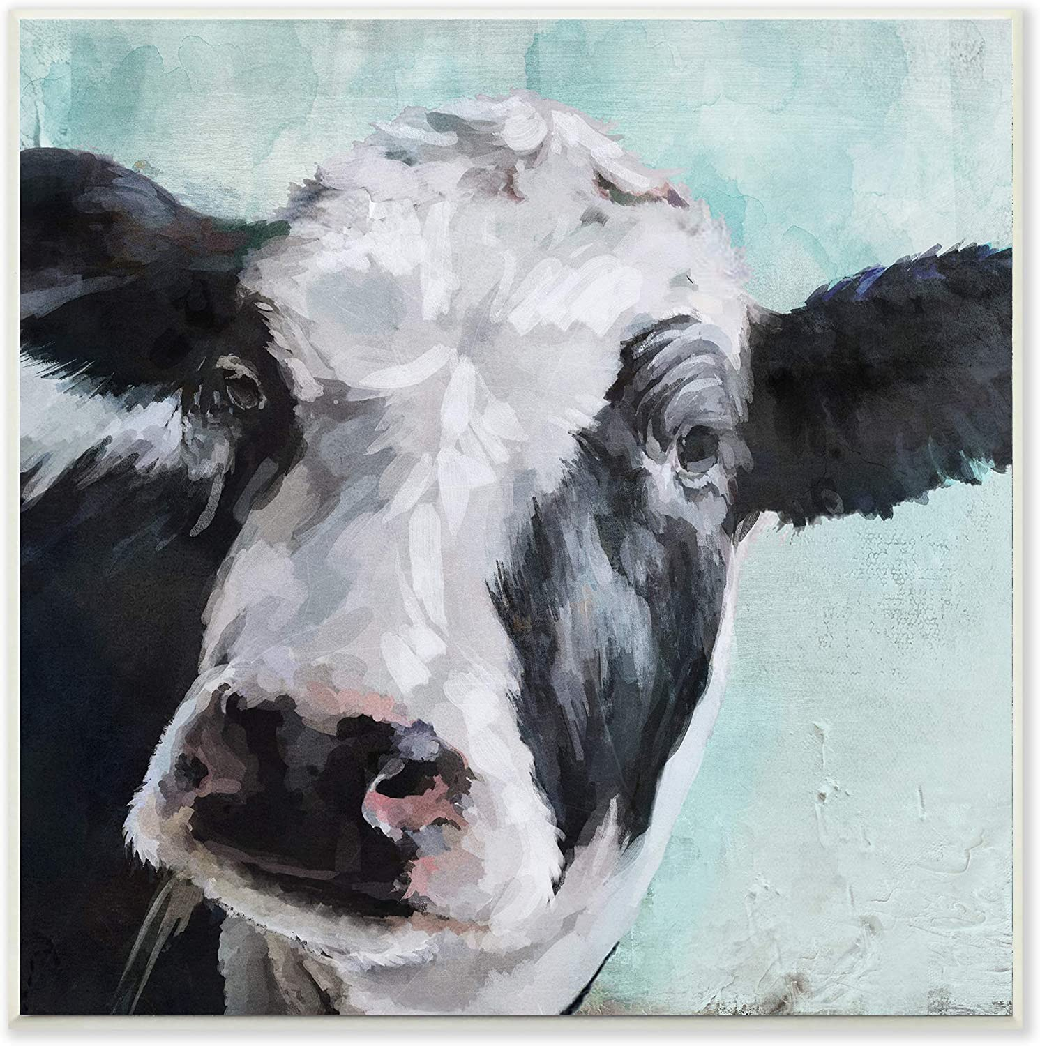 The Stupell Home Décor Collection Gentle Farm Cow Painting on Blue Wall Plaque Art, 12 x 12, Multi-Color