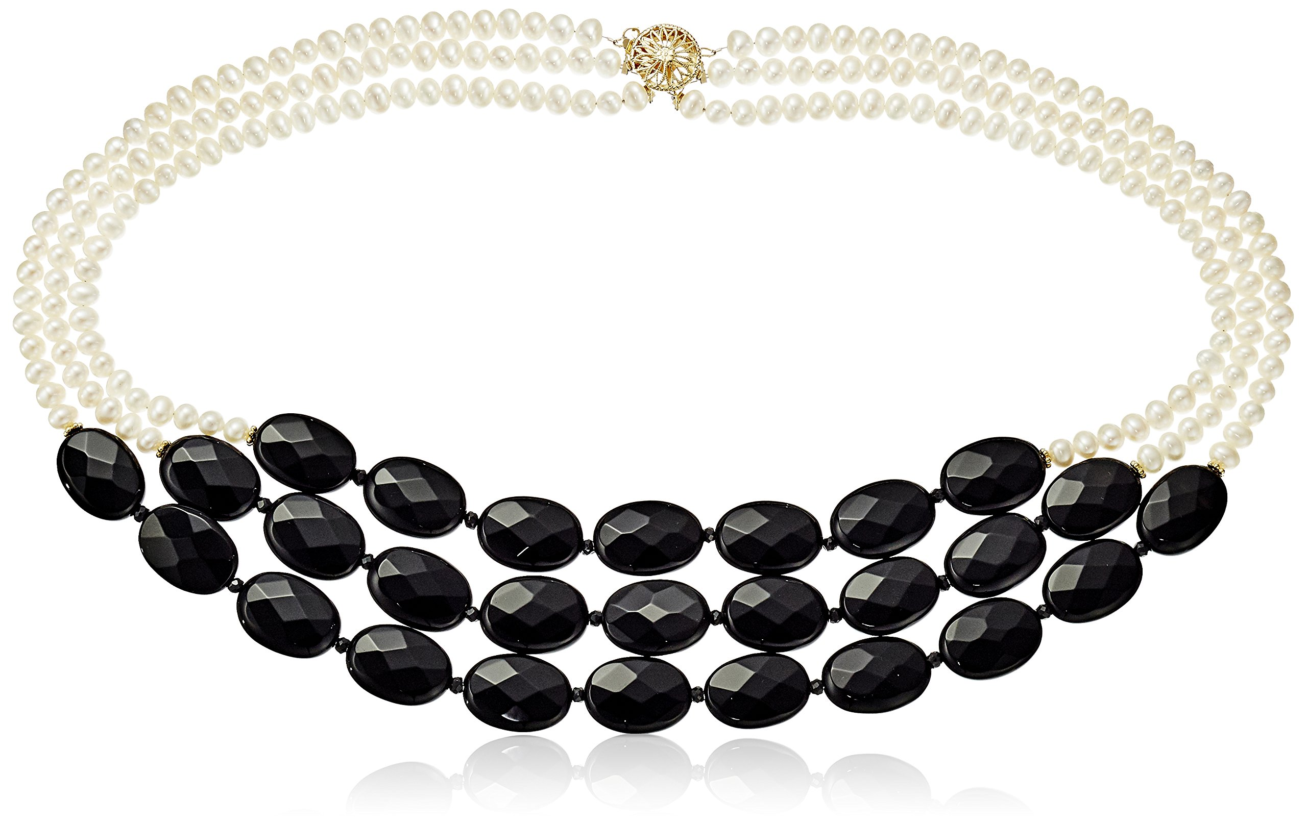 Three-Row Black Onyx and White Freshwater Cultured Pearl Necklace, 18''