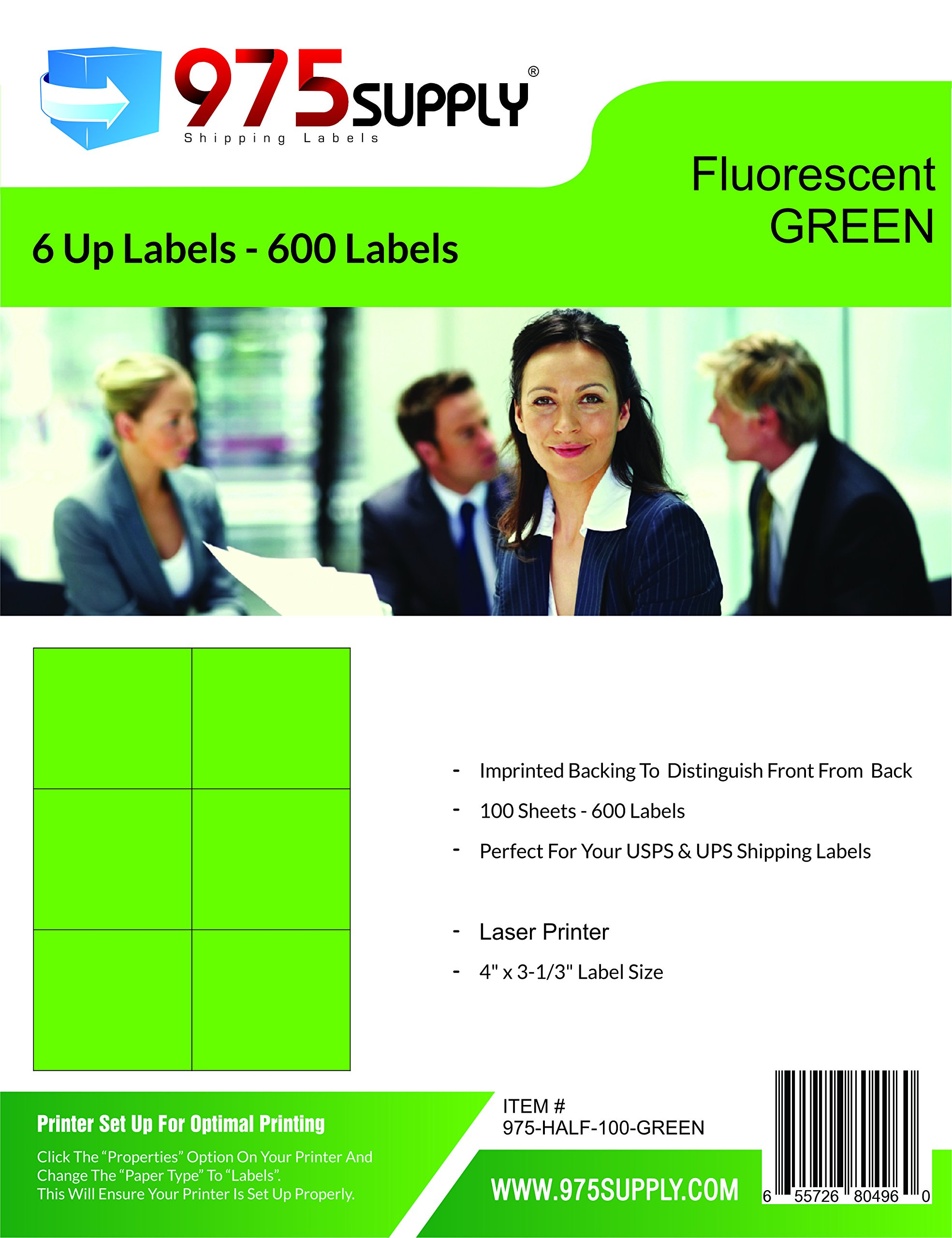 Address Labels - 975 Supply Brand - 100 Sheets (6 Up Labels, Fluorescent Green)
