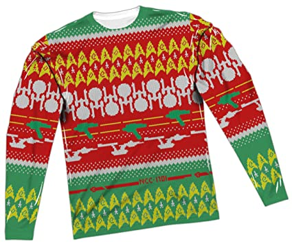 Amazon.com: Ugly Christmas Sweater -- Star Trek All-Over Long ...