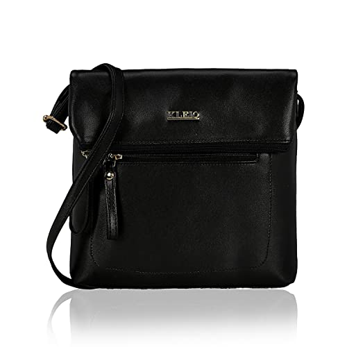 b5a0548021 KLEIO Faux Leather Black Sleek Sling Bag for Women  Amazon.in  Shoes ...