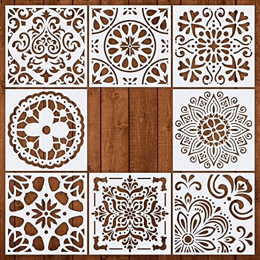 CZONG Pack of 8 Mandala Floor Painting Stencils Set (6x6 Inch) Laser Cut Wall Stencil Painting for Wood Floor Tiles Fabric Template