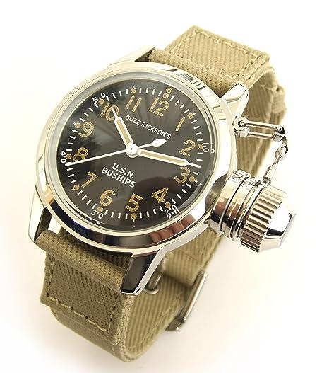 Buzz Rickson del hombre U.S.N. buships Canteen reloj azul marino militar reloj de pulsera br02529: Amazon.es: Relojes