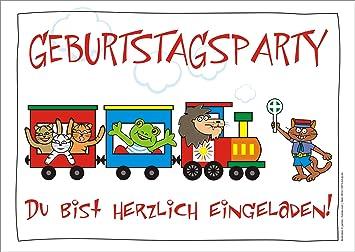 6er Set Lustige Einladungskarten Mit Zug Tieren Und Schaffner Zum
