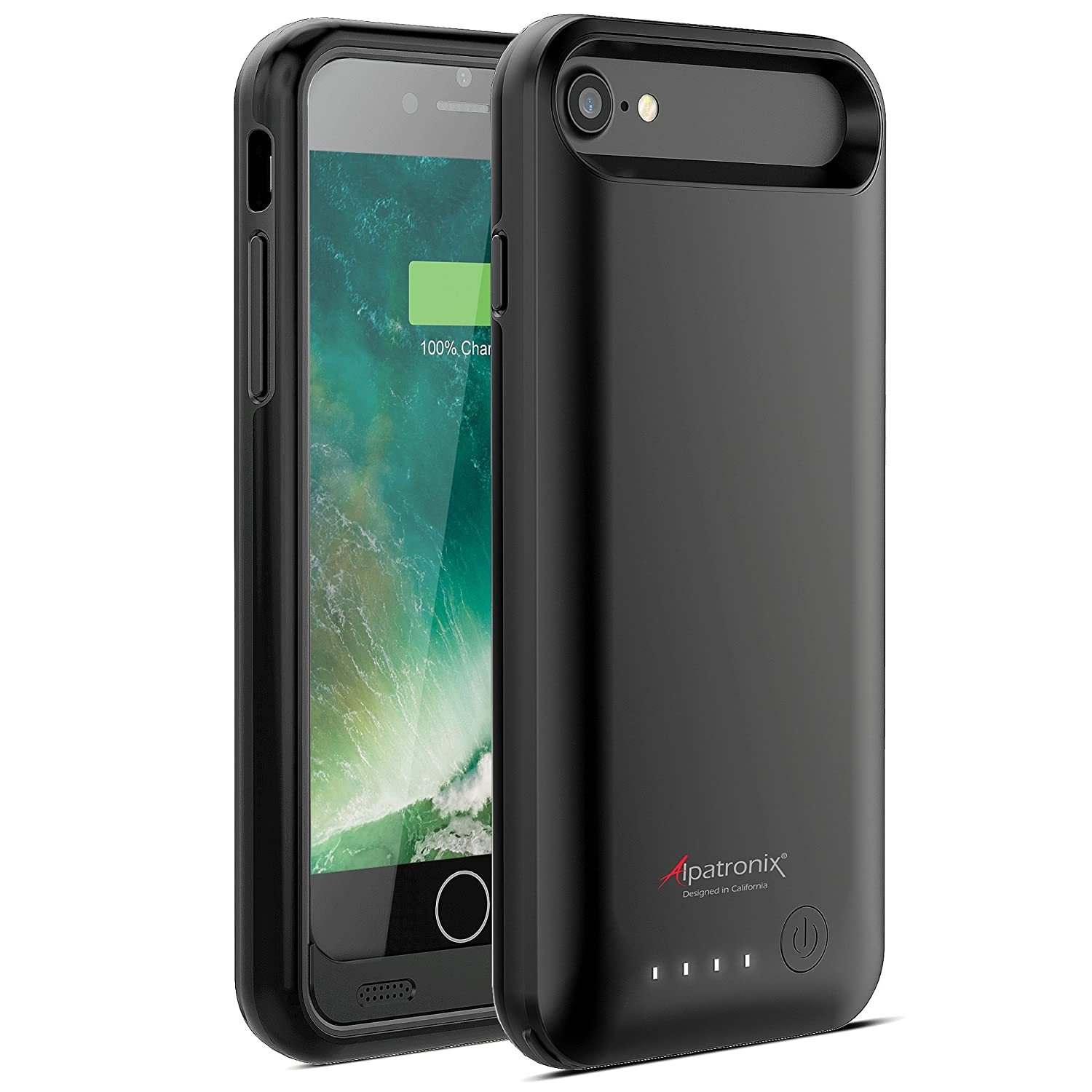 iPhone 8/7 Battery Case, Alpatronix BX170 4.7-inch 3200mAh Ultra Slim Protective Portable Rechargeable Extended Charging Cover Backup Case for iPhone 8 & iPhone 7 Juice Bank Power Pack - Black