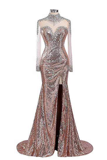Fanciest Womens High Neck Sequin Long Evening Dresses With Sleeves Prom Gowns Gold US26W