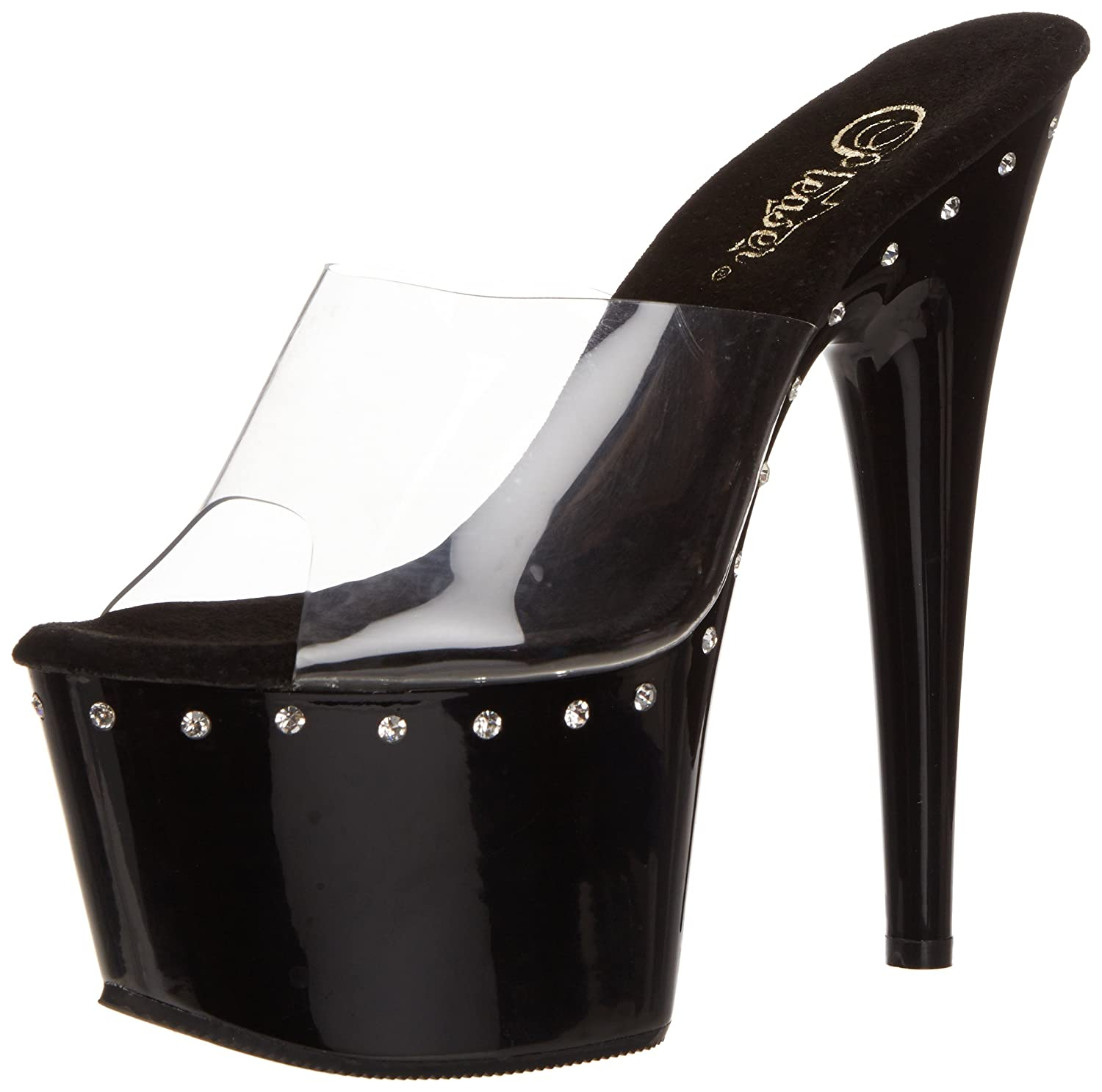 Clear Black Pleaser Women's Adore-701 Sandal