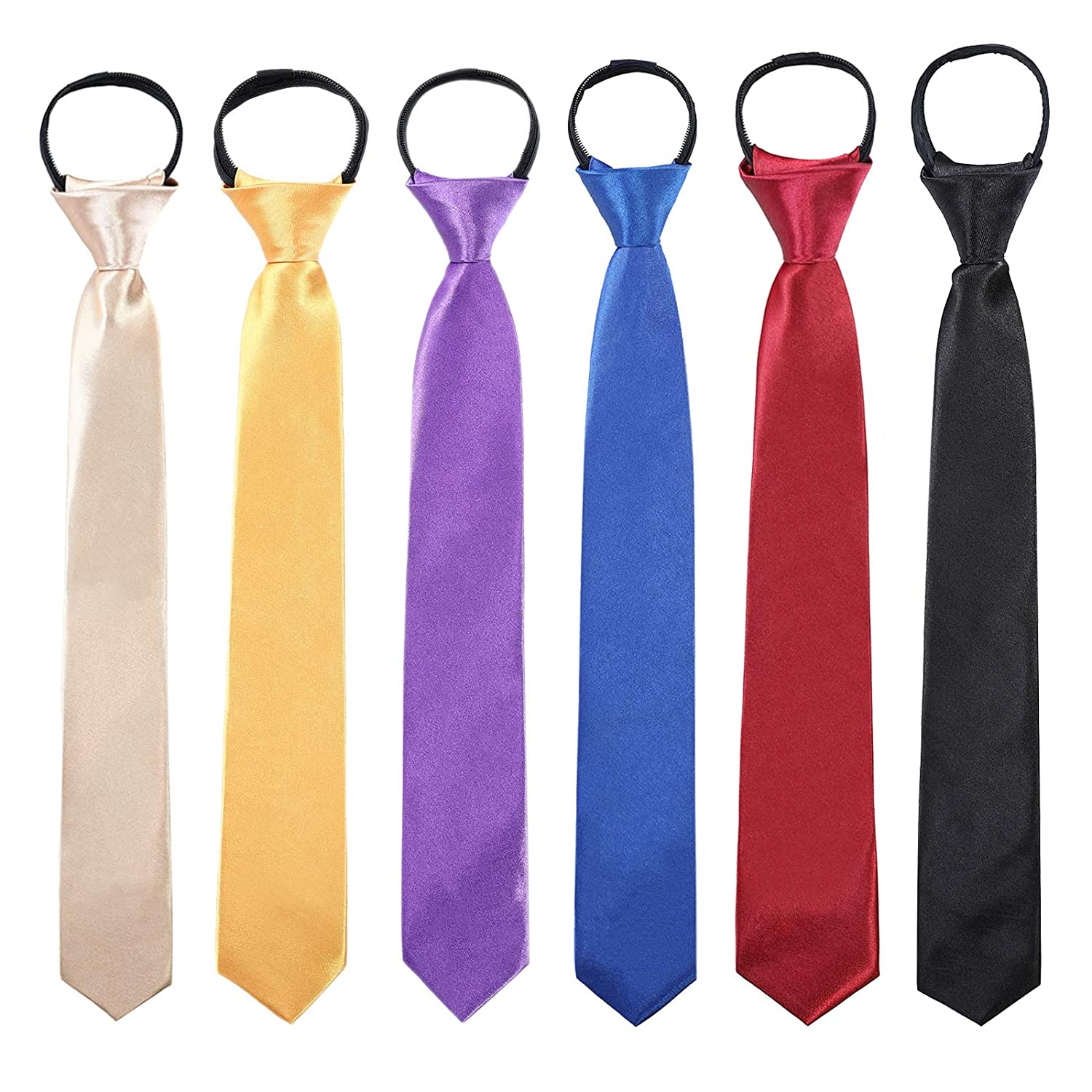 6PCS Solid Color Adjustable Tie for Party Champagne,Gold Yellow,Purple,Royal Blue,Wine Red,Black Toddlers Boys Zipper Ties Necktie