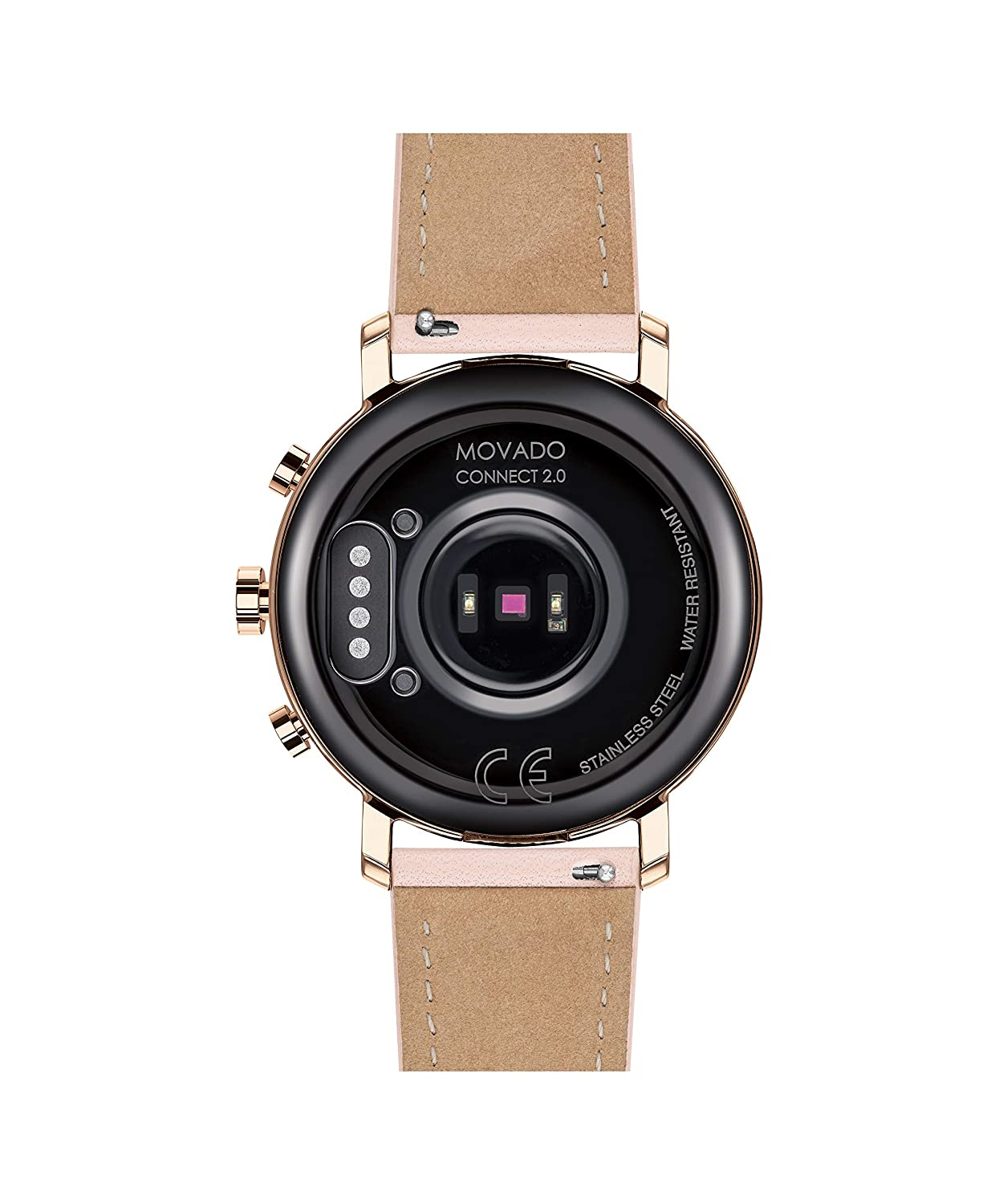 Movado Connect 2.0 Unisex Powered with Wear OS by Google Stainless Steel and Pink Leather Smartwatch, Color: Pink (Model: 3660023)