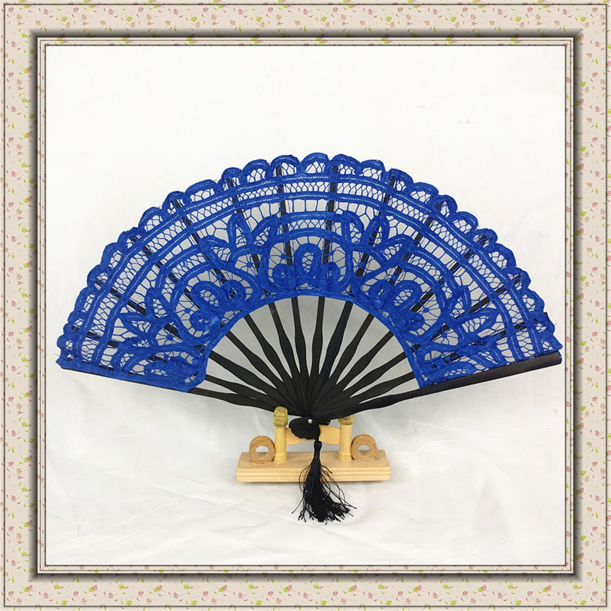 Blue Chinese Hand Held Fan Bamboo Lace Spanish Style Folding Fan Party Dance Decor