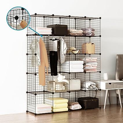 Beau Tespo Wire Cube Storage Shelves Book Shelf Metal Bookcase Shelving Closet  Organization System DIY Modular Grid
