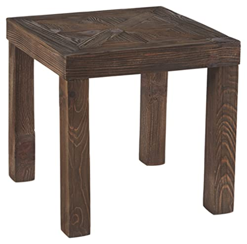 Ashley Furniture Signature Design – Ossereene Contemporary Square End Table – Two-tone Brown
