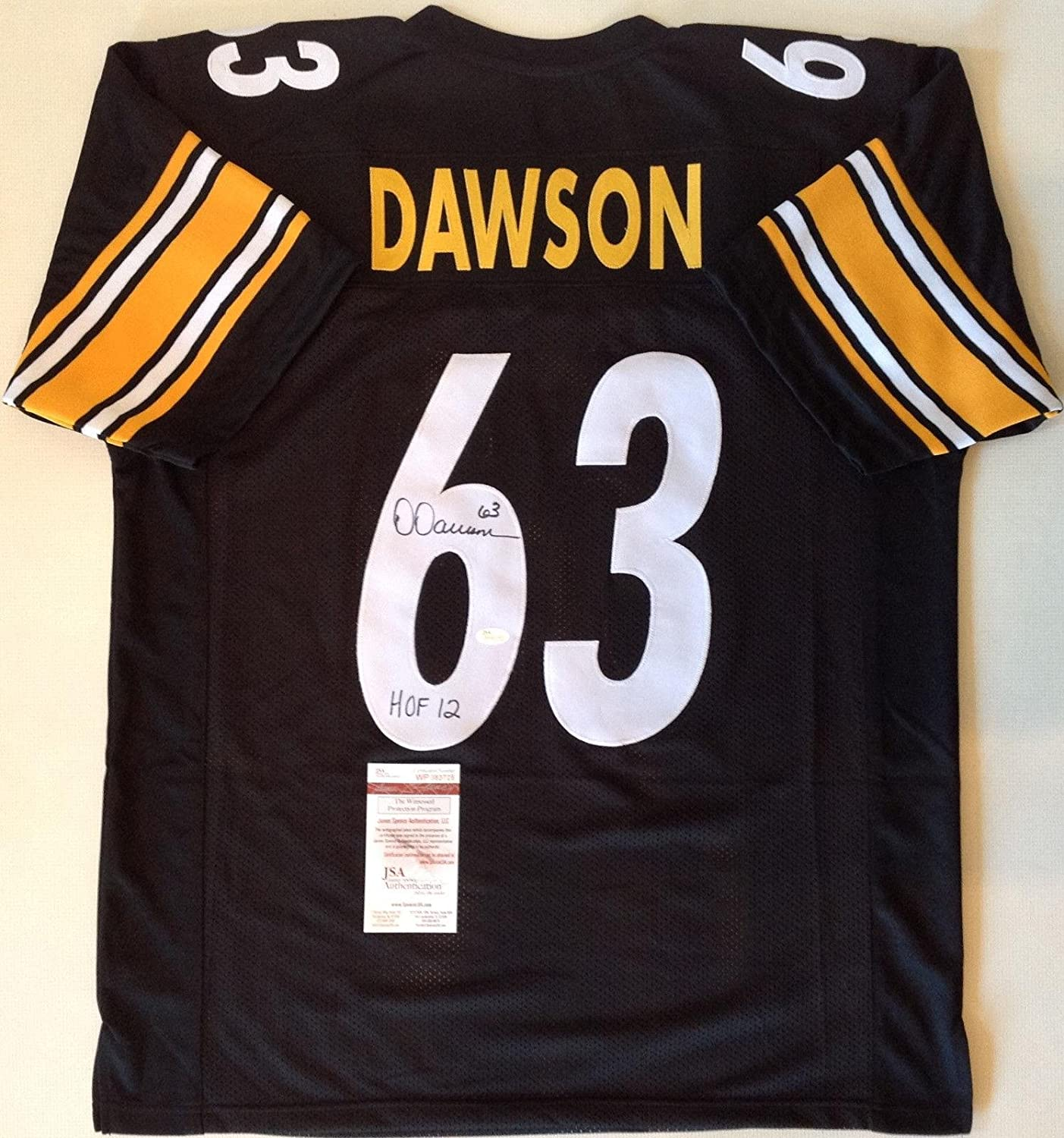 b0fd23131 Amazon.com: Pittsburgh Steelers Dermontti Dawson Signed Custom Black Jersey
