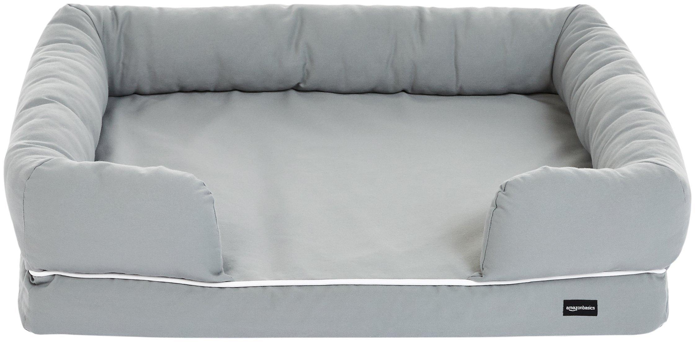 AmazonBasics Medium Pet Dog Sofa Bolster Lounger Bed - 36 x 29 x 9 Inches, Grey by AmazonBasics