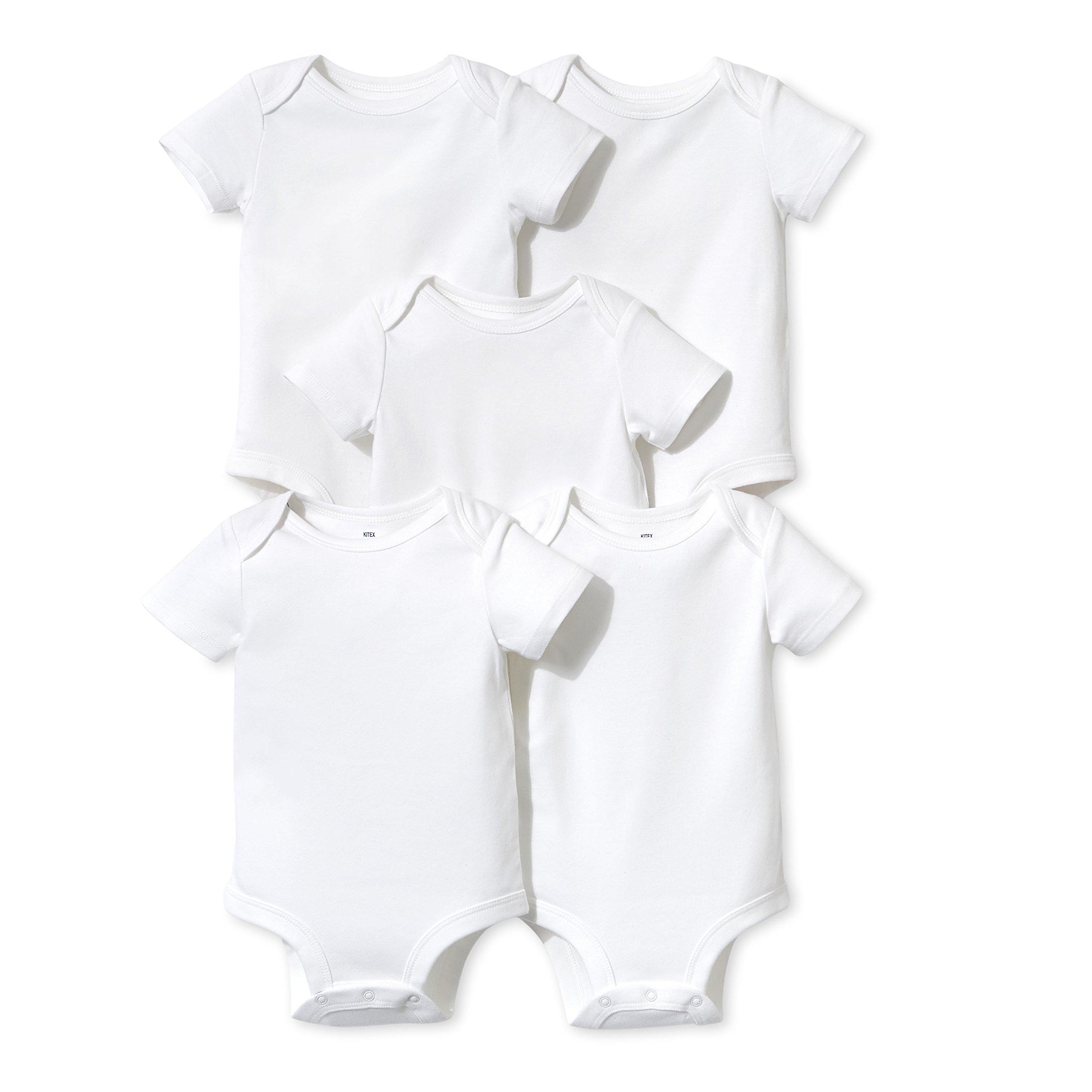 Lamaze Baby Organic Essentials 5 Pack Shortsleeve Bodysuits, White, 3M
