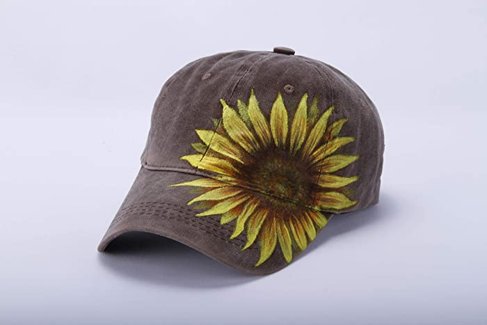 Hand Painted Sunflower Baseball Cap Women-Flower Floral Coffee Brown Family  Boy Girl Mom Dad Hat Cotton Canvas-Fall Winter Trucker Hat-Sunflower Lover  ... da1f0c8a96e4