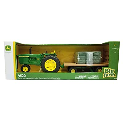 John Deere 1:16 Big Farm 4020 Tractor with Hay Wagon & Bales: Toys & Games