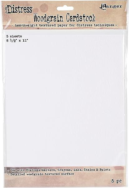 Tim Holtz Distress Woodgrain Embossed Cardstock 111lb Heavyweight Textured Paper
