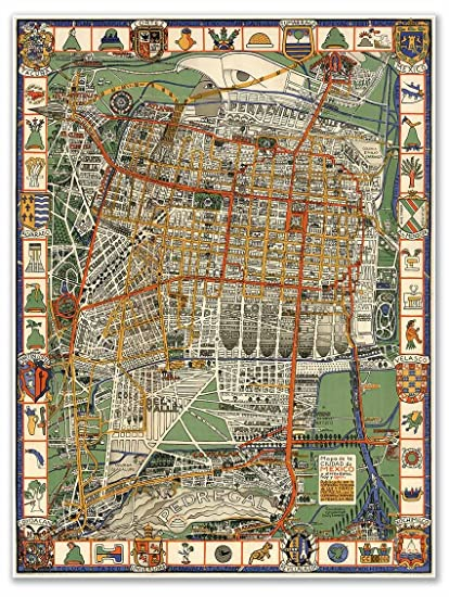 Mapa de la Ciudad de Mexico - MEXICO CITY Map circa 1932 - measures 24""