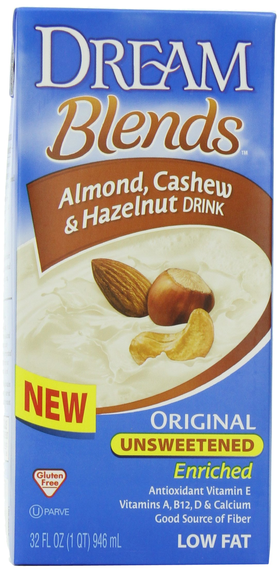 Dream Blends Unsweetened Enriched Original Almond, Cashew and Hazelnut Drink, 32 Ounce Aseptic Boxes (Pack of 6) by Dream Blends