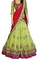 Sanjana Collection Women's Faux Georgette Lehenga Choli (Sc _Perot_Perrot Green _Free Size)